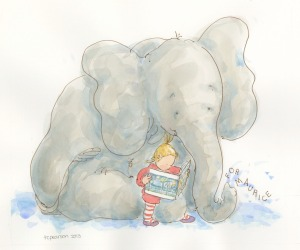 Gracie reading Where The Wild Things Are to Elephant-original watercolor for The Sendak Memorial at the 19th Annual Children's Book Silent Auction-Supporting Free Speech Rights for Young Readers May 29 at Book Expo America