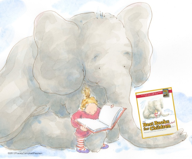 Gracie reading to Elephant on the 2013 ABC Best Books for Children Cover