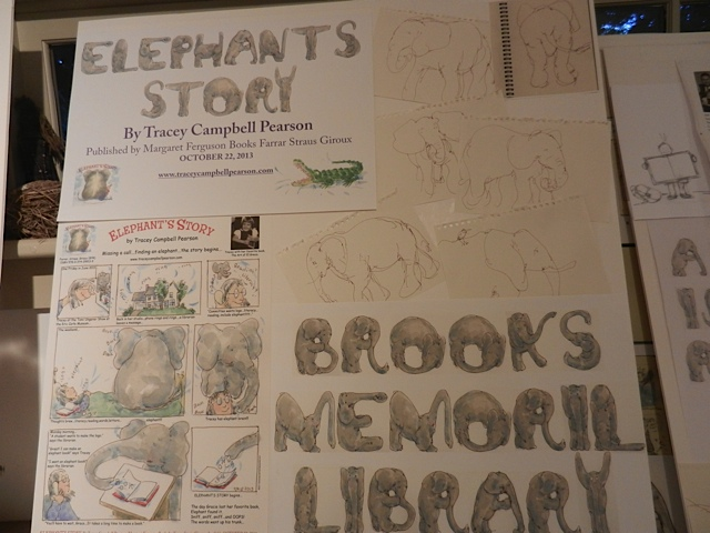 Getting ready...Brooks Memorial Library Art Show...scattered Elephant art on boards in studio-1