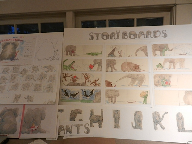 Getting ready...Brooks Memorial Library Art Show...scattered Elephant art on boards in studio-2