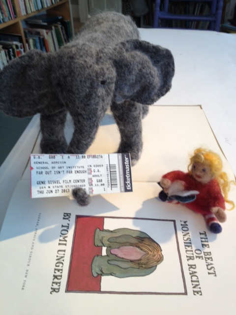 Elephant and Gracie meet Tomi Ungerer
