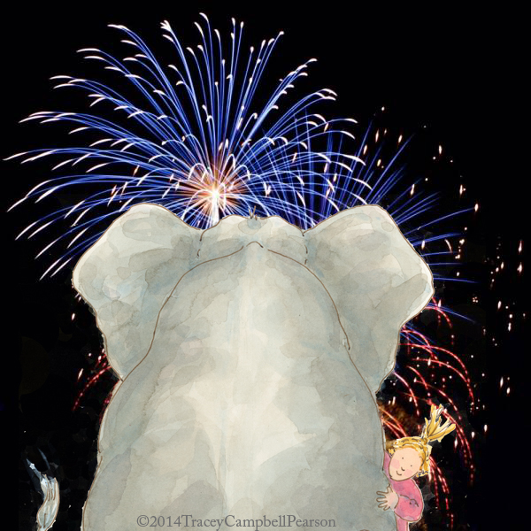 Elephant and Gracie watching the fireworks...