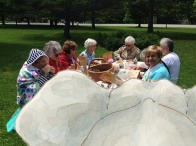 Brrrr...Mazza group joins Elephant for a chilly picnic on the green in Jericho Center, VT.